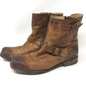 Frye Tan Distressed 8 D Smith Engineer Zip Boot